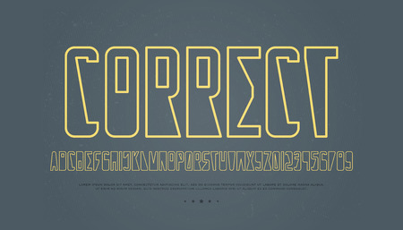 Contour style alphabet letters and numbers. Vector, outline font type design. Contemporary lettering symbols. Stylish, geometric typesetting template.