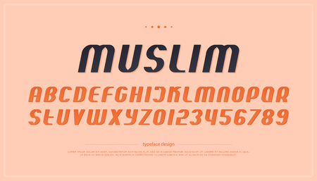 Set of italic style alphabet letters and numbers. Illustration