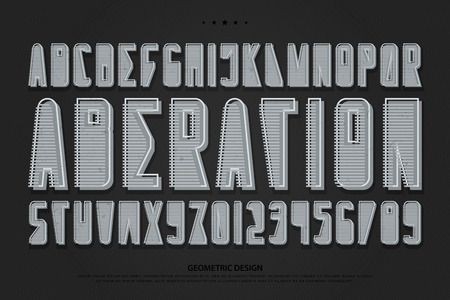 3d style alphabet letters and numbers. vector, abstract font type design. striped lettering symbols. stylish, geometric typesetting template 일러스트