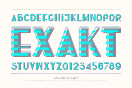 Geometric alphabet letters and numbers. Vector, bold font type. regular, striped typeface design.
