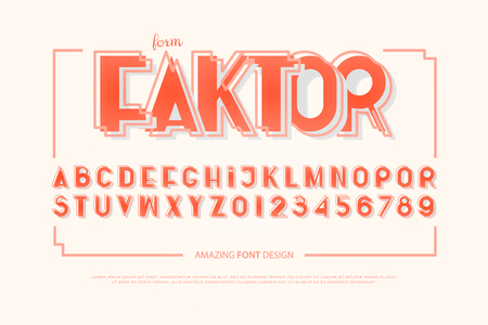 Geometric alphabet letters and numbers. Vector, bold font type. Vintage typeface design. retro, decorative typesetting.