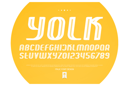 set of italic style alphabet letters and numbers. vector, oblique font type design. yellow, sloping typeface. inclined, decorative typescript
