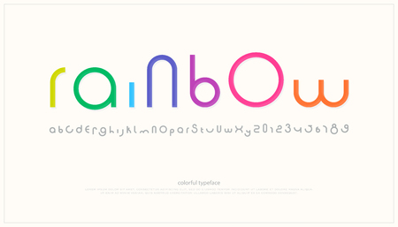 A round style alphabet letters and numbers. vector, minimalistic font type design.