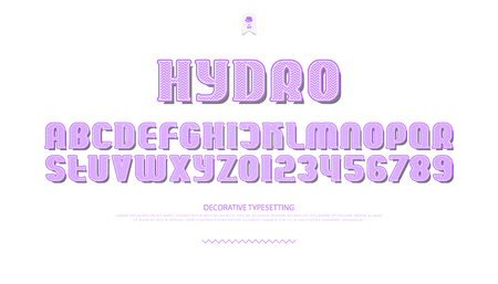 3d style alphabet letters and numbers. vector font type design. zigzag lettering symbols. stylish, decorative typesetting template