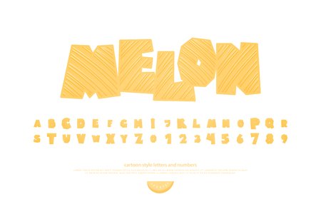 set of summer stylized alphabet letters and numbers. vector, cartoon style font type. fresh packaging typeface design. cool, melon decorative typesetting Illustration