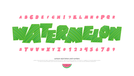 set of italics stylized alphabet letters and numbers. vector, cartoon style font type. slanted typeface design. oblique, watermelon decorative typesetting