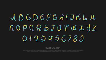 Dibujado a mano las letras del alfabeto y los números. cepillo de vector, diseño de tipo de fuente símbolos de letras artesanales, composición de pincel. tipografía de escritura colorida