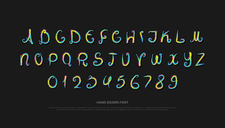 hand drawn alphabet letters and numbers. vector brush, font type design. handcrafted lettering symbols, paintbrush typesetting. colorful write typeface Illustration