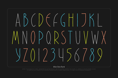 Hand drawn alphabet letters and numbers. Vector font type design. Handcrafted lettering symbols, colorful typesetting. Vettoriali