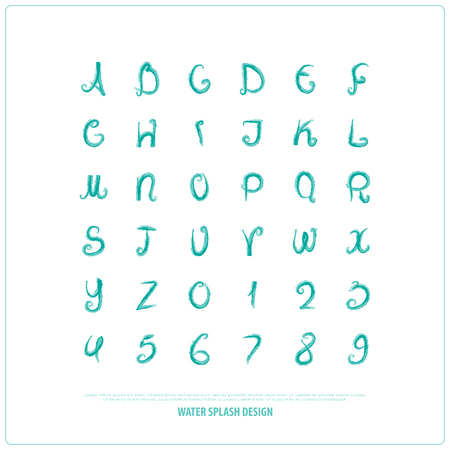 hand drawn alphabet letters and numbers. vector watercolor, font type design. handcrafted lettering symbols, paintbrush typesetting. aquarelle write typeface Illustration