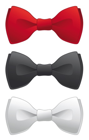 silk tie: A selection of red, black and white formal bow ties. Illustration