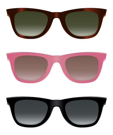 sun protection: Classic sunglasses with turtle shell, pink and black frames. Illustration