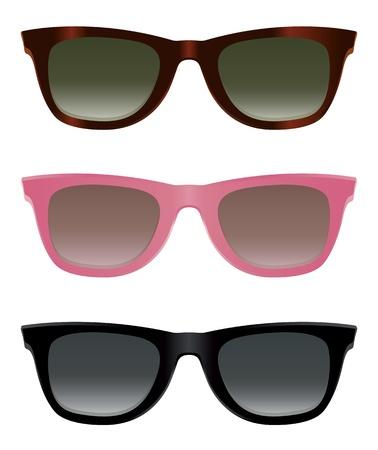 sun protection: Gafas de sol cl�sicos con caparaz�n de tortuga, marcos rosados y negros. Vectores
