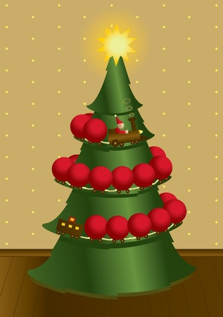 A toy train transporting decorations onto a christmas tree with a starry wallpaper background. Vector