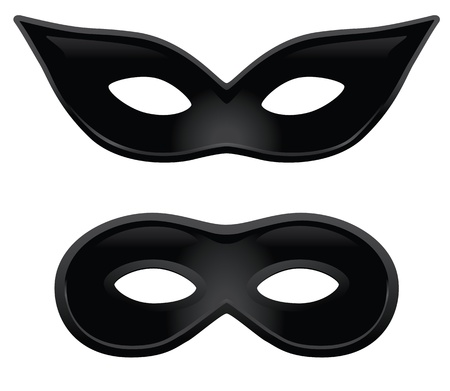 A pair of black masks for masquerade costumes or other occasions.