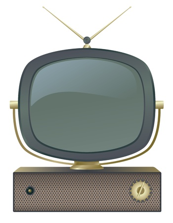 television aerial: A classic retro television set. Illustration