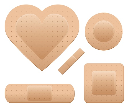 An adhesive bandage set including one in the shape of a heart. Illustration