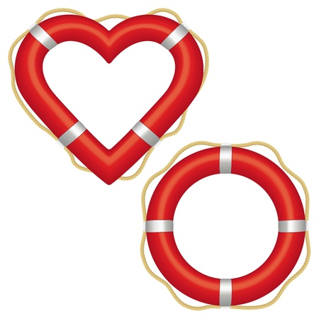 lifebuoy: Two red lifebuoys, one in the shape of a ring and the other a heart preserver.
