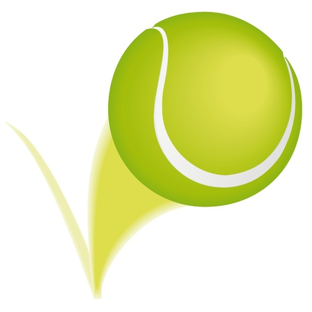 Tennis ball taking a bounce and leaving a blurred path. Illustration