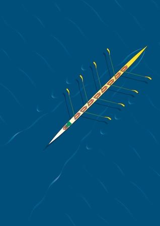 hilera: Ocho personas del equipo de remo con canoa con una diagonal de izquierda a derecha. Vectores