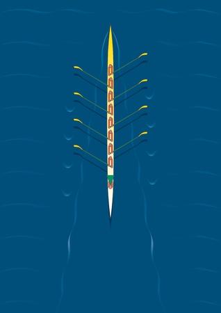 Otto squadra di canottaggio persona con la canoa in movimento - centrato in acqua. Archivio Fotografico - 11270461
