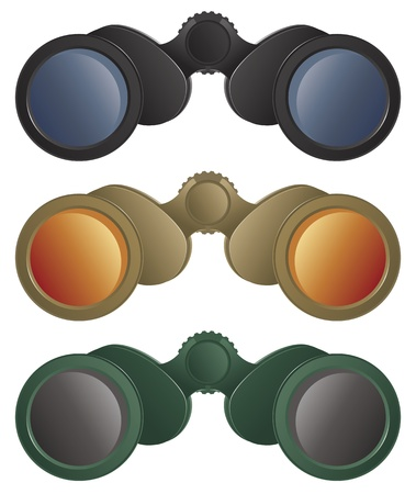 A selection of binoculars in black, tan and green colors. Vector