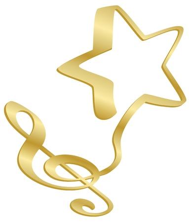 pentagrama musical: Un musical G o clave de sol desemboca en una estrella. Vectores
