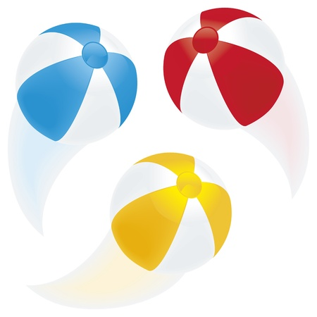 inflar: Una selecci�n de pelotas de playa en movimiento con senderos borrosos aislado en blanco Vectores