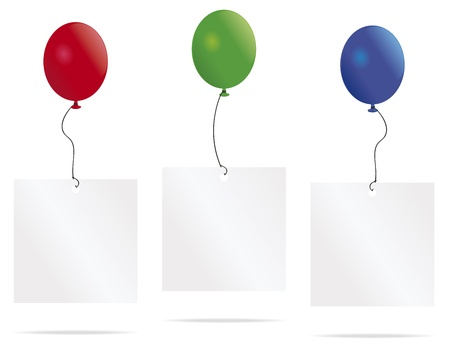 Balloons lifting message cards, with space for text, into the air  Illustration