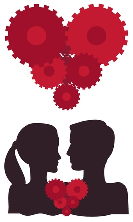Silhouetted couple with a sprocket wheel heart