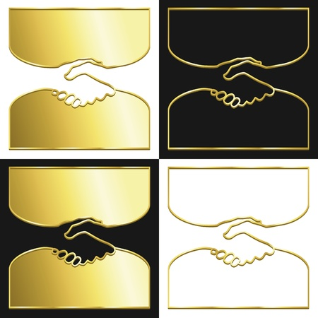 Variations of a handshake symbol in gold. Vector