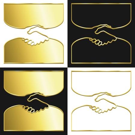 handshake icon: Variations of a handshake symbol in gold.