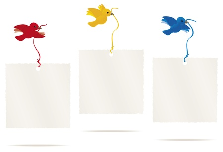Birds flying with message cards, with space for text.