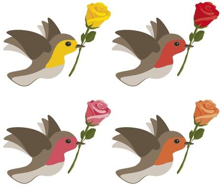 鳥は、白で隔離される黄色、赤、ピンク、オレンジ色のバラを運ぶします。  イラスト・ベクター素材