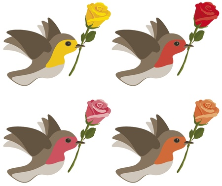 flying birds: Birds carrying yellow, red, pink and orange roses isolated on white.
