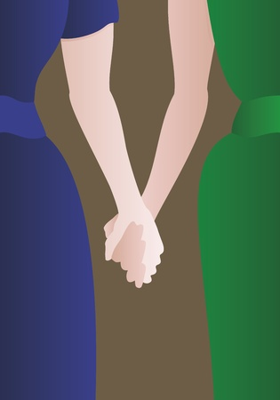 girls holding hands: Detail of a well dressed female couple holding hands.