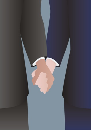 Detail of a well dressed male couple holding hands Vector