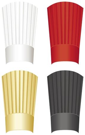 cook hats: Gorro de cocinero alto en blanco, rojo, dorado y negro aislado en un fondo blanco. Vectores