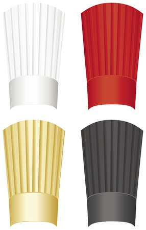 black hat: Tall chefs hat in white, red, gold and black isolated on a white background.