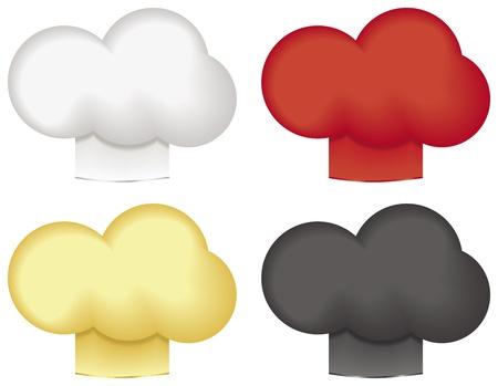 白、赤、金、黒、白い背景で隔離のシェフの帽子。