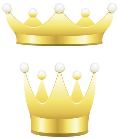 真珠白で隔離される 2 つの伝統的な金の王冠。