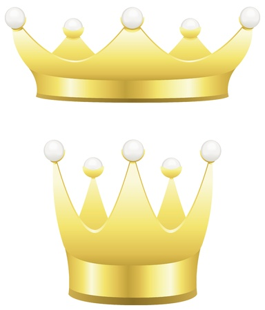 aristocracy: Two traditional gold crowns with pearls isolated on white.