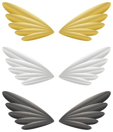 angelic: Gold, white and black wings isolated on white background
