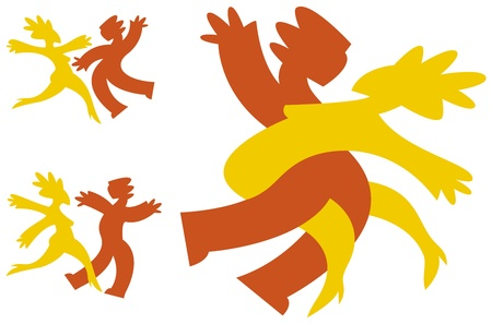 Graphic icons in bright colors of a couple dancing. Vector