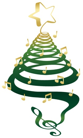 a musical christmas tree with treble clef notes and star illustration