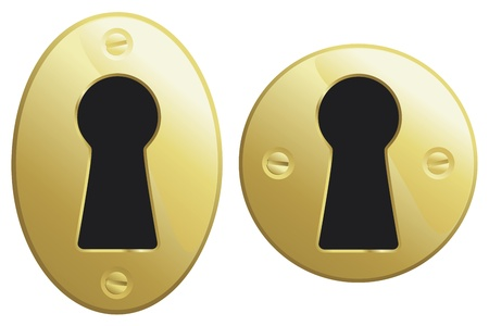 Brass keyholes in oval and circular versions. Vettoriali