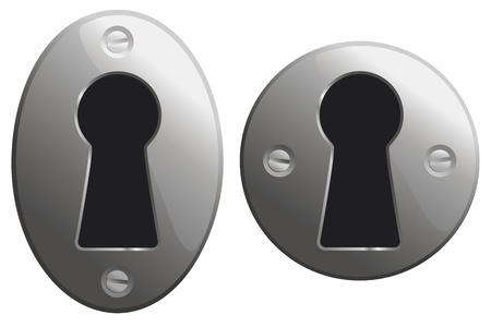 key hole: Metal keyholes in oval and circular versions.  Illustration