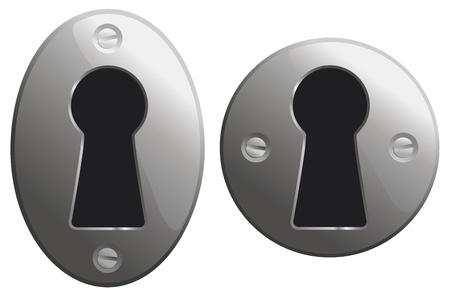 gaten: Metalen sleutelgaten in ovale en ronde versies. Stock Illustratie