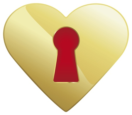 gold keyhole: A heart shaped golden keyhole with red isolated on white.