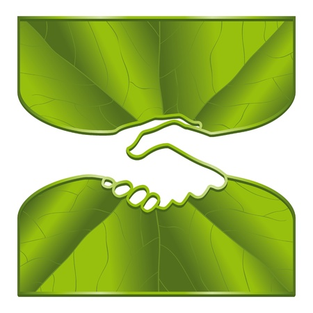 teamwork together: An ecological handshake with leaf surfaces. Illustration